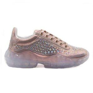 Embellished Bling Sneakers in Rose Gold